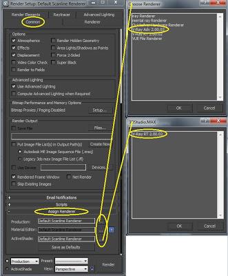 Menús de 3ds max para asignar vray como motor de renderizado
