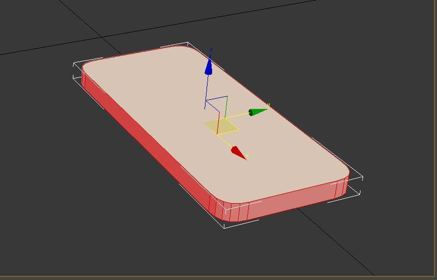 Extruyendo polígonos del borde en 3ds max del teléfono iphone5.