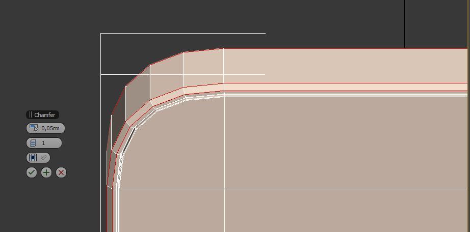 Haciendo un chamfer de los bordes exteriores en 3ds max del teléfono iphone5.