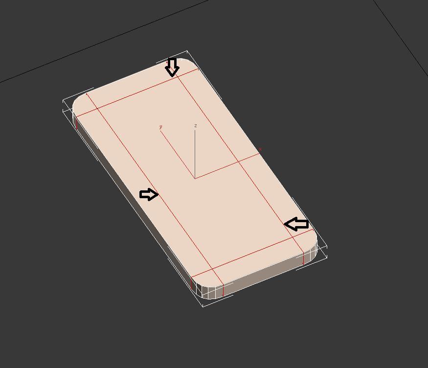 Cortando las caras superior e inferior en 3ds max del teléfono iphone5.