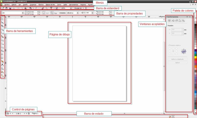 Aprende sobre el entorno de trabajo y las barras que trae Corel draw